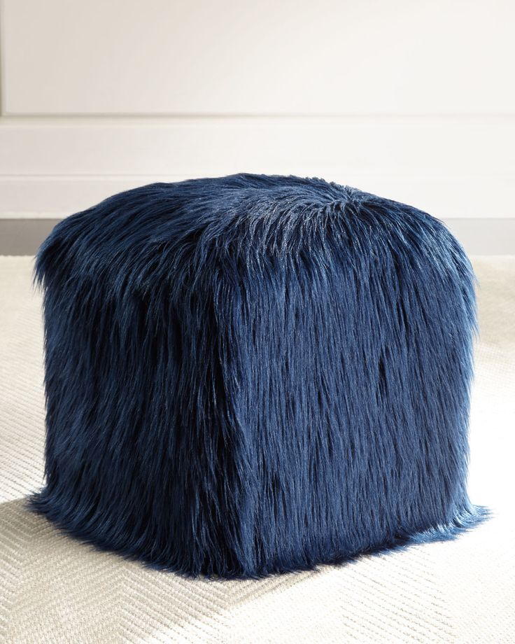 Navy Faux Tibetan Lamb Pouf In 2019 Hues Of Blues Pouf