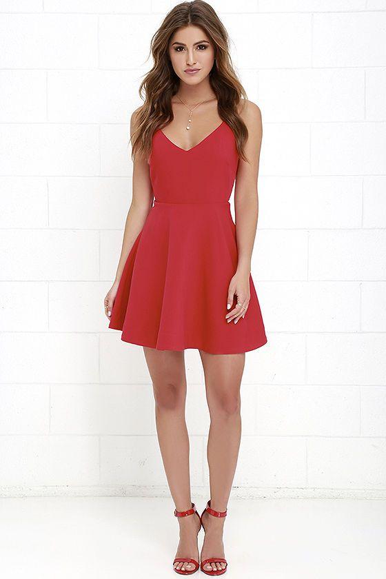 Dandelion Days Red Skater Dress at Lulus.com!