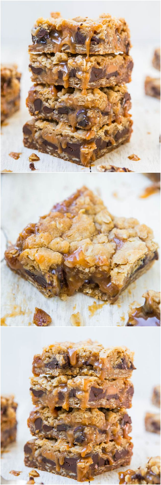 Carmelitas - For the serious caramel lover, these soft and chewy bars are stuffed with chocolate and just dripping with caramel! Easy one-bowl, no-mixer recipe at averiecooks.com