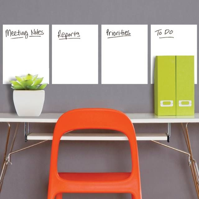 product image for Wallies Peel & Stick Dry Erase Sheets in White (Set of 4)
