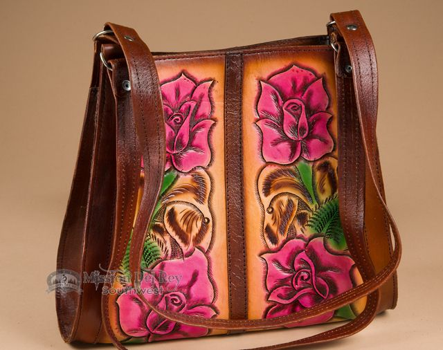 Brown Southwestern Hand Tooled Leather Purse