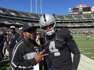 Raiders Win.Derek Carr (30-46, 351 Yds, 3 TD) throws TD in final minute to lead OAK to 37-33 comeback win over BAL. Ice cube with Derek Carr September 20, 2015