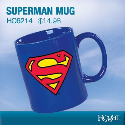 "Superman Mug - It's a bird! It's a plane! It's the superman mug! Start off your mornings faster than a speeding bullet with this great-looking coffee mug featuring the Man of Steel's iconic ""S"" logo. You'll look pretty super and feel like a hero as you enjoy your favourite beverage. Ceramic. Holds 11oz. Dishwasher safe. (4""Diam. x 3-1/4""W) Product Number - HC6214"