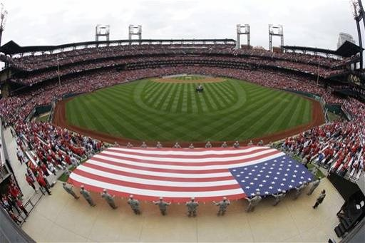 Game 3 of the NLCS- The American Flag is displayed during the National Anthem 10-17-12