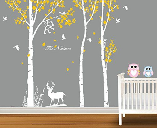 Boodecal The Reindeer Around The White Birch Tree Wall Stickers Decals Murals Decor For Nursery Bedroom Kids Room Playroom Art 82x 70 Inches -- Be sure to check out this awesome product. (Note:Amazon affiliate link)