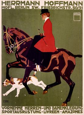 Berlin Horse Show Hunter Jumper Fine Art Giclee Print    This is a vintage fine art giclee print by Ludwig Hohlwein. It is featuring a women horseback riding in pristine form with a hound chasing after