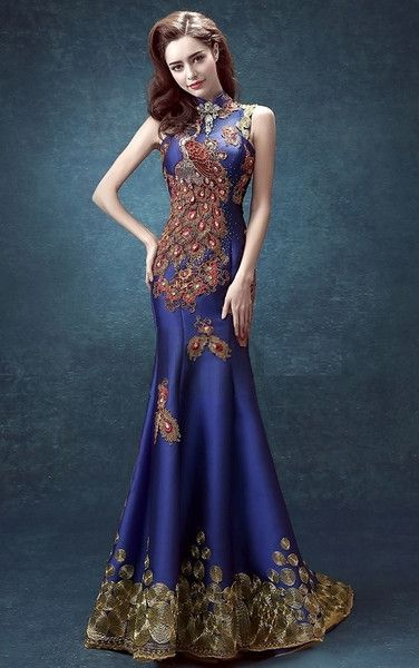 Sequin Lace Mermaid Qipao Phoenix Gown - YannyExpress