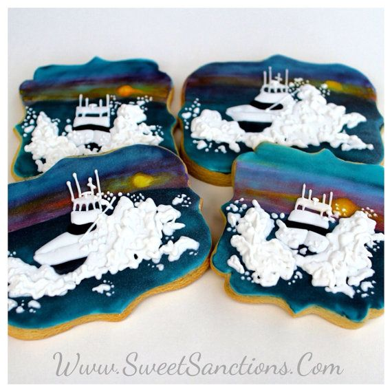 Boating/ Fishing Designer Custom Cookies; Congratulations, Father's Day, Groom Favors. Charter Boats, Deep Sea Fishing Etsy SweetSanctionsLLC