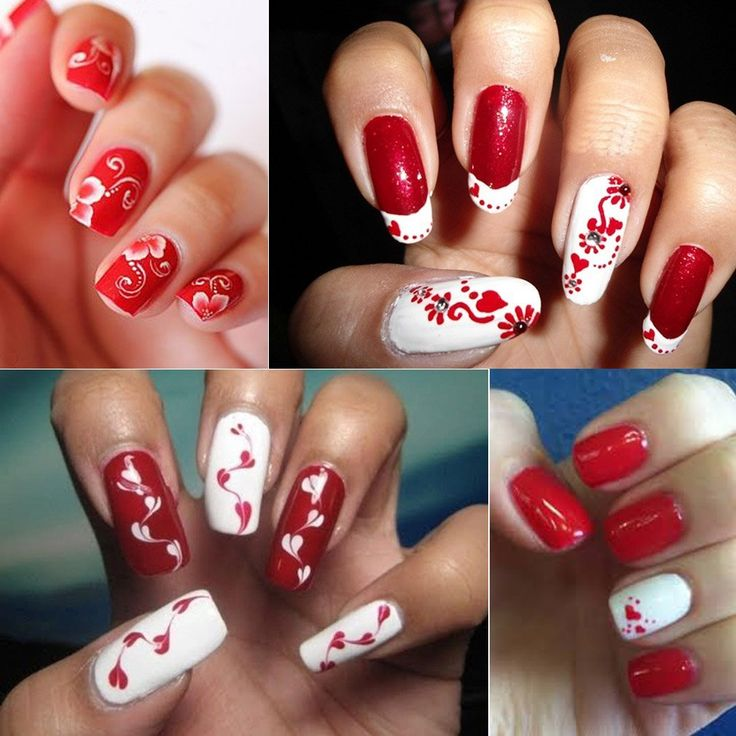 CLAVUZ White and Red Nail Polish with Base Top Coat Set Cure Under UV LED Lamp Fashion Nail Art at Home Pack of 4 : Beauty