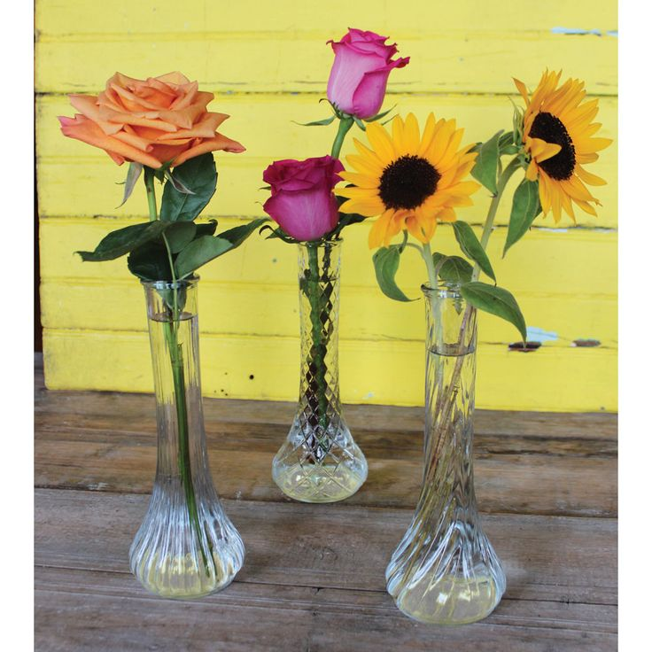 Create A Stylish Flower Arrangement With These Assorted Clear Glass Vases To Accent Your Vintage Decor