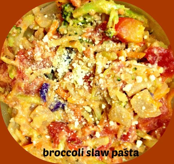 Broccoli slaw pasta - low carb, replace pasta with broccoli slaw.