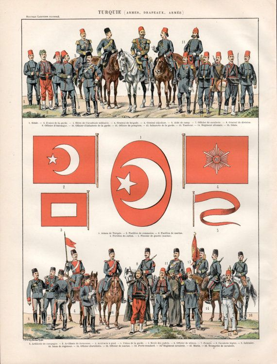 1897 Turkey Antique Map, Ottoman Empire, Vintage Lithograph, Old Print Poster, Turquie Larousse Illustration, Turkish Empire, Constantinople