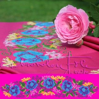 """Belt """"Summer"""" IV C two parts. Machine embroidery design - rose blossoms."""