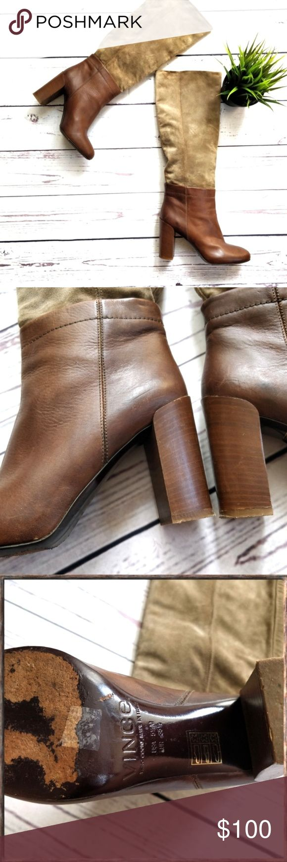 VINCE Corinne Leather Suede Tall Boots Brown 5.5 T…
