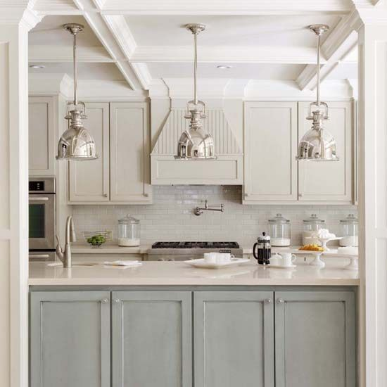 light blue and white kitchen cabinets