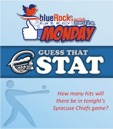 @syracusechiefs fans: GUESS THAT STAT: How many hits do you think there will be in tonight's Syracuse Chiefs game? First correct guess will win a prize from BlueRock!