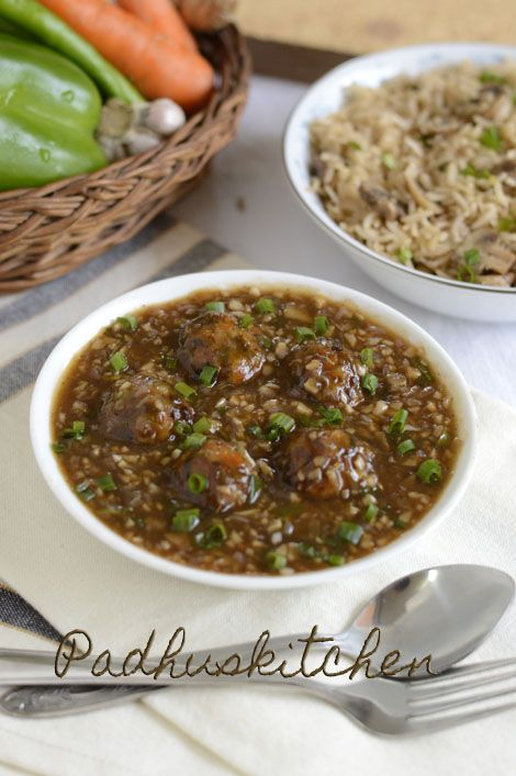 Indo Chinese Lunch Menu - Mushroom Fried rice with Vegetable Manchurian gravy