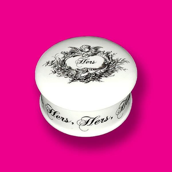 'Hers' Trinket Box - A beautiful small gift for all of her bits and bobs. Handmade in Stoke-on-Trent, England. Fine Bone China #Trinket #TrinketBox #Hers #Gifts #MothersDay #GiftForHer #FineBoneChina #MadeInStokeOnTrent #MadeInEngland #BritishMade