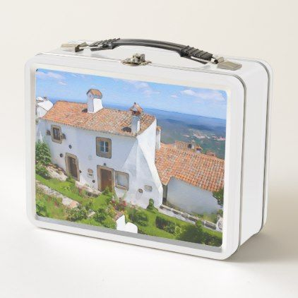 Watercolor Mediterranean house Metal Lunch Box - home gifts ideas decor special unique custom individual customized individualized
