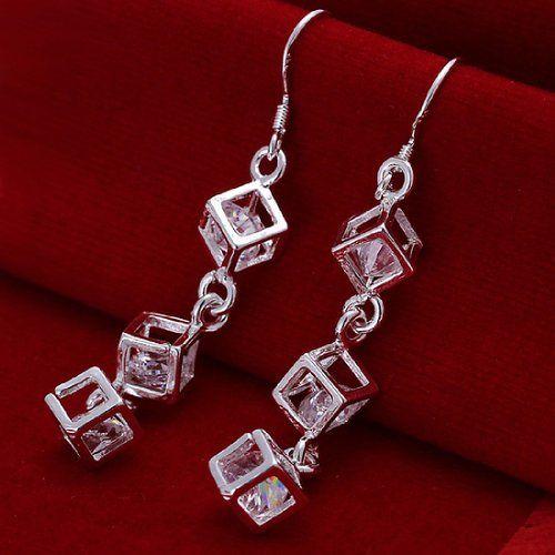 joyliveCY 2016 Fashion Women's Elegant 925 Silver Plated Stud Dangle Earings Eardrop Flat Smooth Round l9RFrah