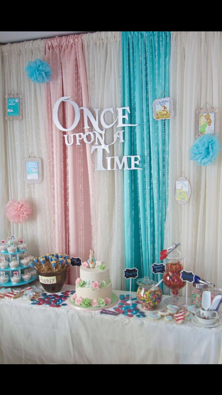 Gender neutral baby shower ideas pinterest - Sweet Table Unisex Baby Shower Storybook Theme More