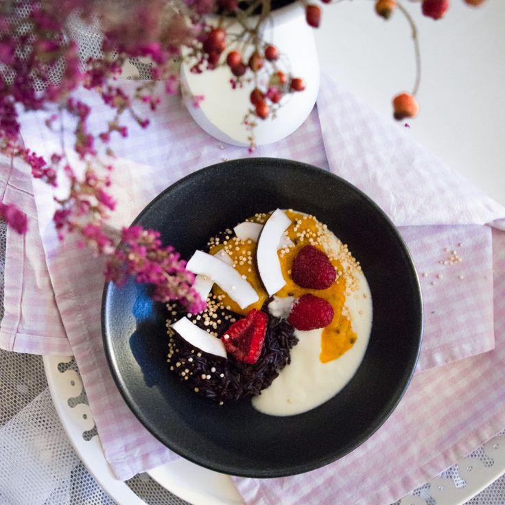 Black rice pudding with sea buckthorn puree, greek yogurt, raspberries, fresh coconut and popped quinoa