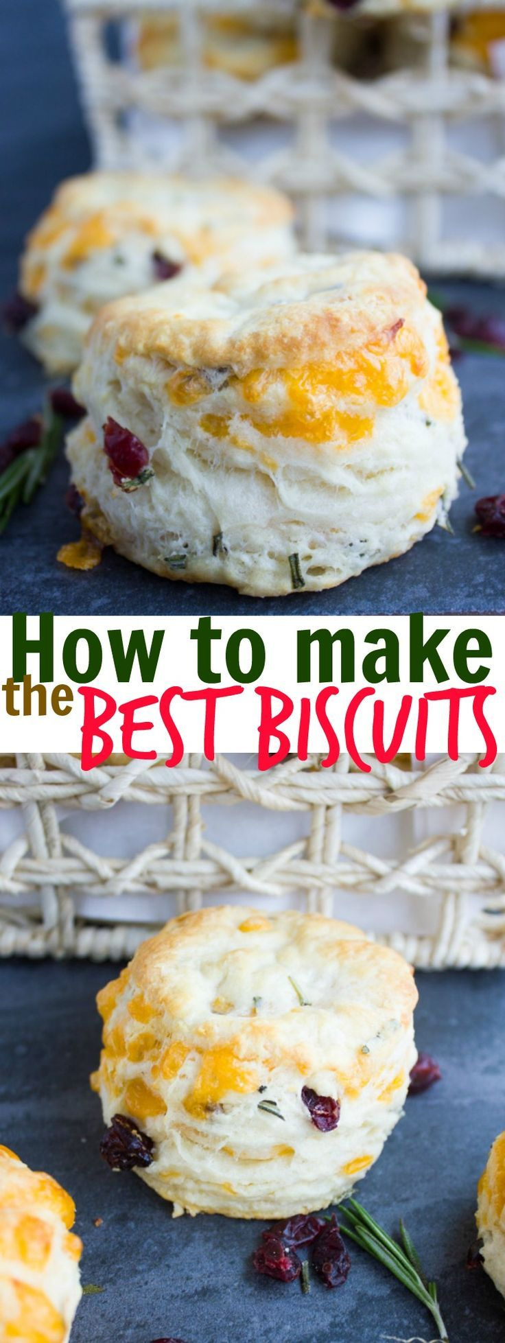 How To Make Biscuits With Cheddar Rosemary & Cranberries. Seriously the secret is OUT--the ultimate tips, step by step and secret to make FLUFFY, PILLOWY homemade biscuits! Get this base recipe now and enjoy it forever! www.twopurplefigs.com