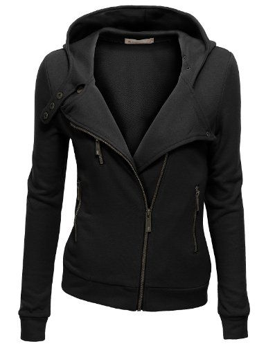 Doublju Womens Zip-up Hood Jacket BLACK (US-S) Doublju