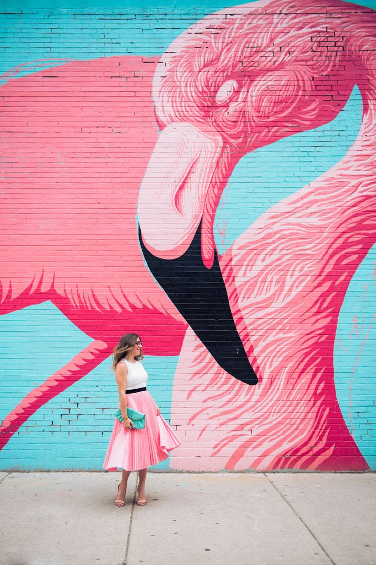 Flamingo wall with a matching pink, pleated skirt.