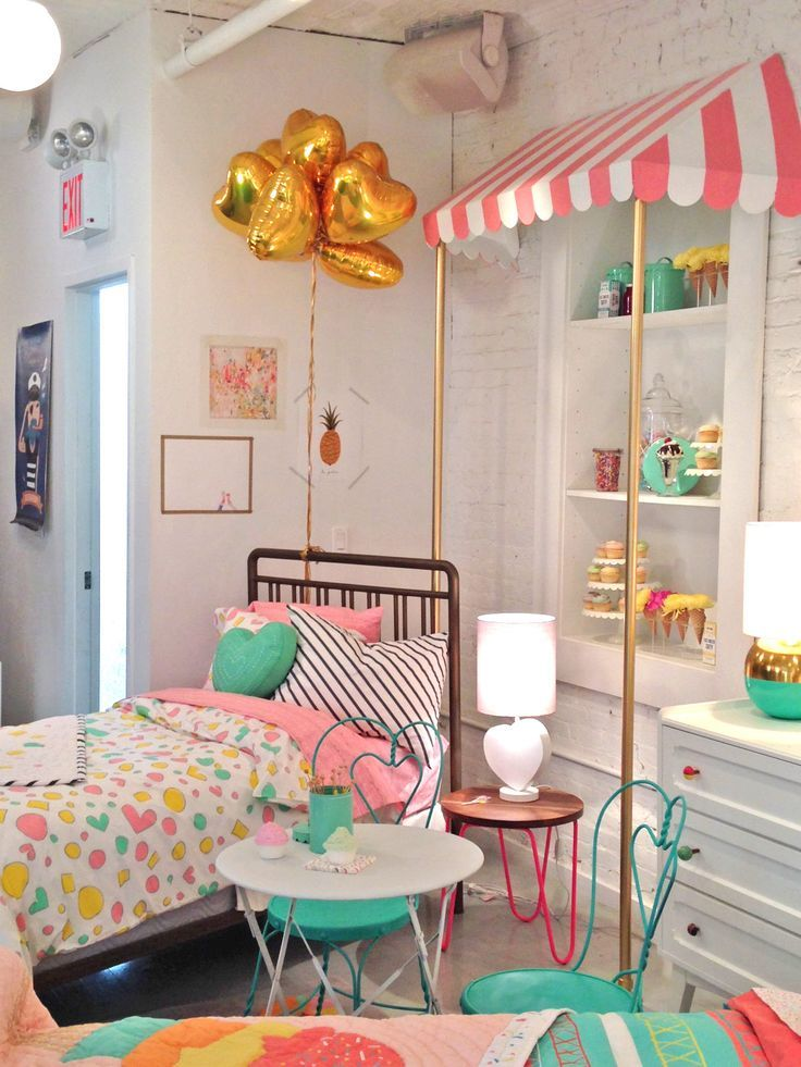 Just wow! Candy striped girls room!