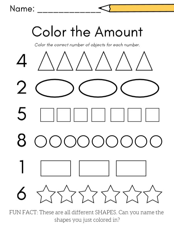 For shape AND number practice, a color the shape amount