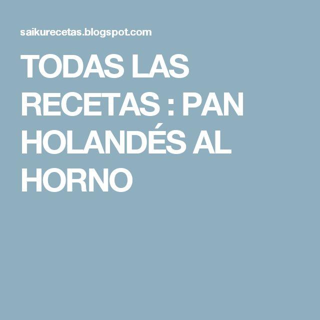 TODAS LAS RECETAS : PAN HOLANDÉS AL HORNO