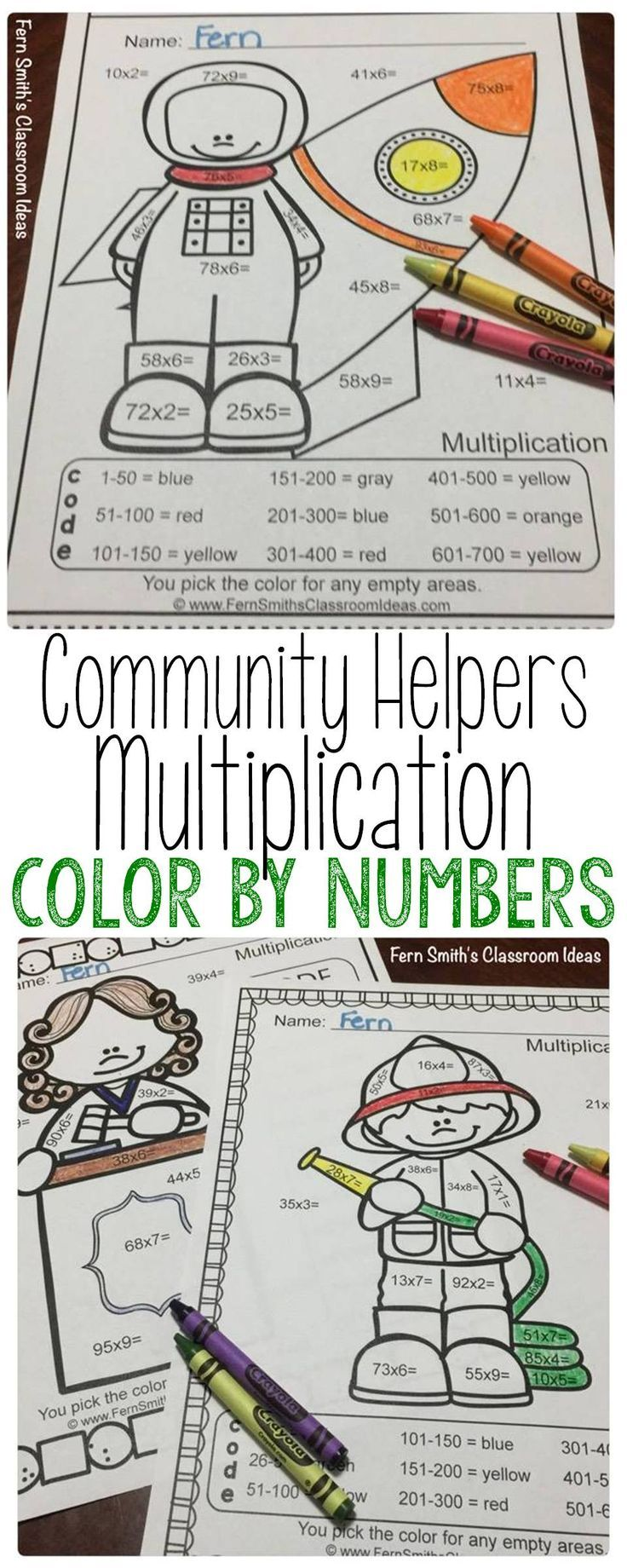 1282 best multiplication activities for 2nd 6th grade images on color by numbers careers 2 digit by 1 digit multiplication robcynllc Gallery