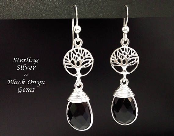 Black Onyx Earrings: Sterling Silver Earrings with Faceted Black Onyx Gemstones & Celtic Tree of Life - buy now at https://www.etsy.com/shop/EarringsArtisan and www.treeoflifejewellery.com #SilverEarrings #DangleEarrings #womensfashion #treeoflife