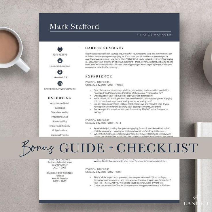 professional resume l cv template i instant download