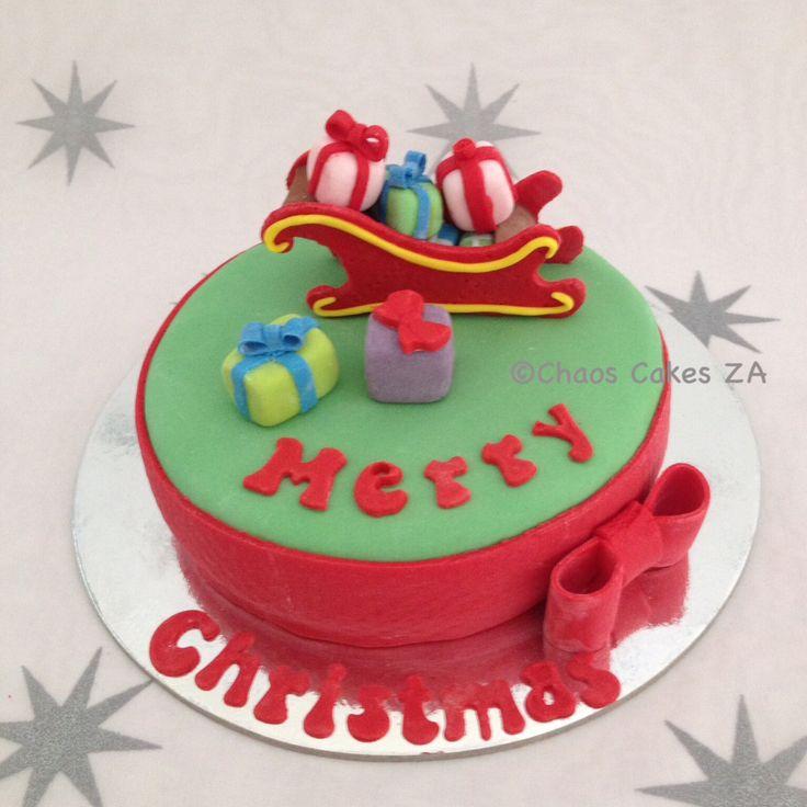 Sleigh and presents green fondant Christmas cake by Chaos Cakes ZA