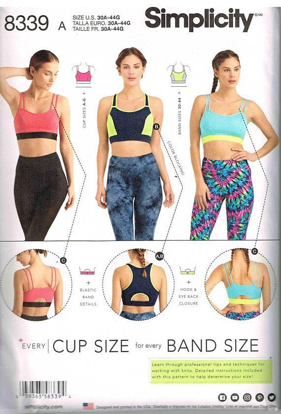 cff2b137c46 Sewing Pattern Exercise Sports Yoga Bra Simplicity 8339 Misses