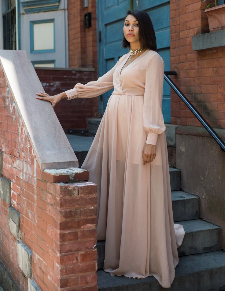 Romantic Floor Length Chiffon Dress – Dress by Windsor, Maternity Style, Maternity Summer Outfit, Maternity Dress, Maternity Spring Outfit, Pregnant Style, Baby Shower Dress for Mom to be, Wedding Wear for Maternity
