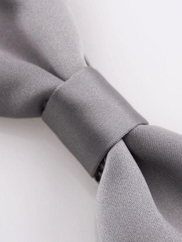 Elegant satin grey silk bow tie - Rosi Collection
