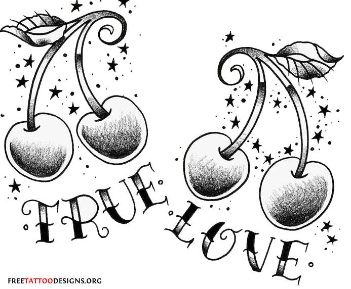 true love cherry tattoo design