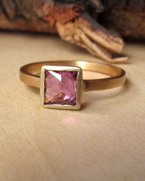 Plum Cushion Cut Sapphire Ring by kateszabone on Etsy except not pink
