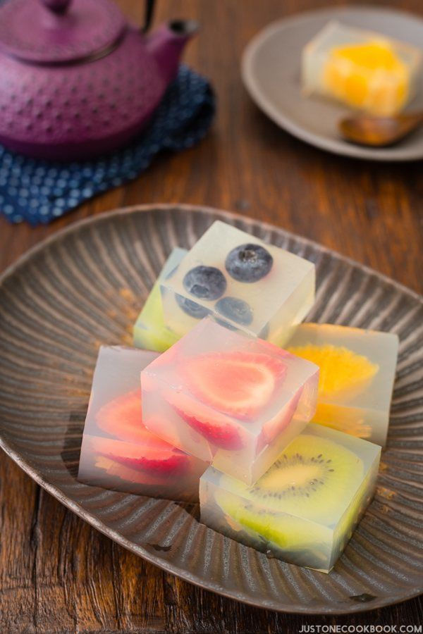 Fruit Kanten - Fruit Jelly. it's perfect for cooling down from a hot day and impress your friends with this colorful treat! | Easy Japanese Recipes at JustOneCookbook.com
