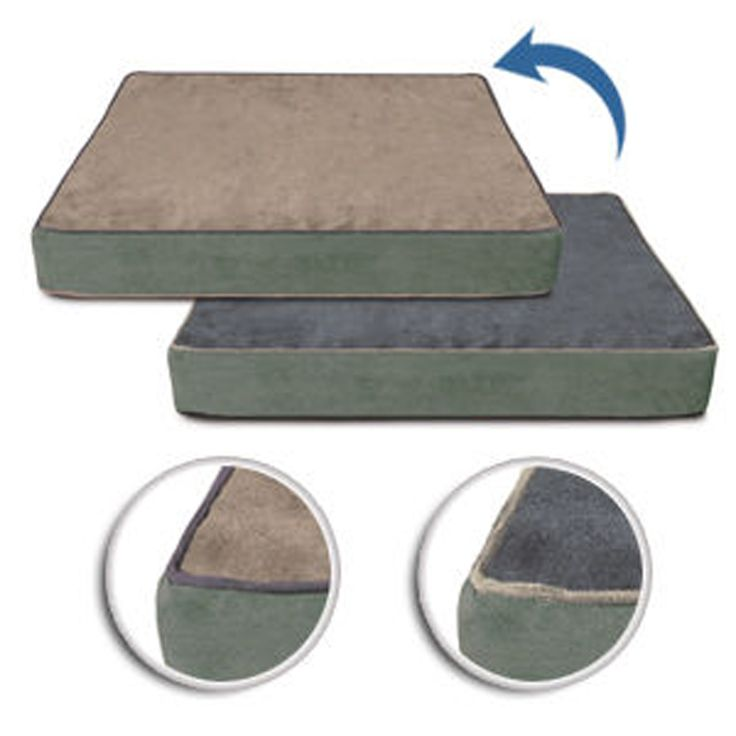 Buddy Beds Luxury Memory Foam Dog Bed Reversible Beach Blues Cover Side 1:  Sand Side 2:  Slate Blue Piping on all sides