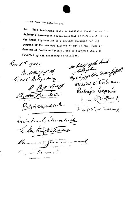 Anglo-Irish Treaty - Signatures - Awesome Stories