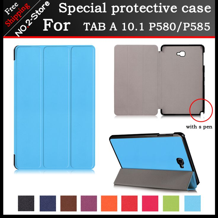For Samsung TAB A 10.1 (2016)P580 /P585 Slim Magnetic Flip pu Leather cover, For Samsung tab a p580/p585 10.1inch tablet case