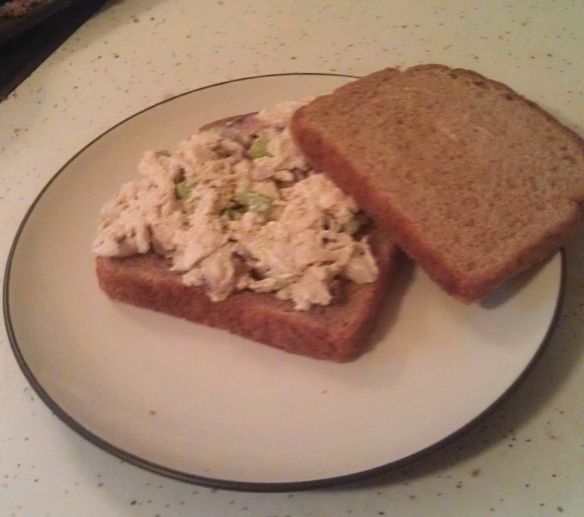 Ingles chicken salad. 1 Rotisserie Chicken, 1/3 c mayo, 1/4 c ranch, 1/4 red onion, 2 stalks celery, 1/2 t celery seed, pepper to taste.