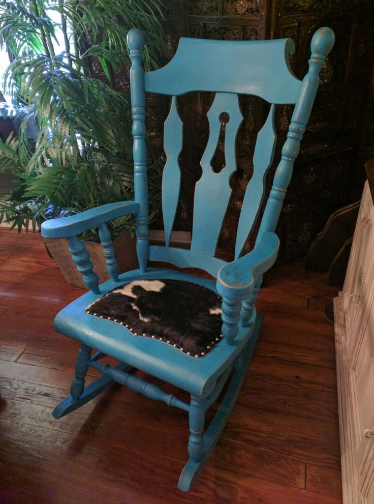 ... chairs rocker forward turquoise yugoslavian rocking chair with cowhide