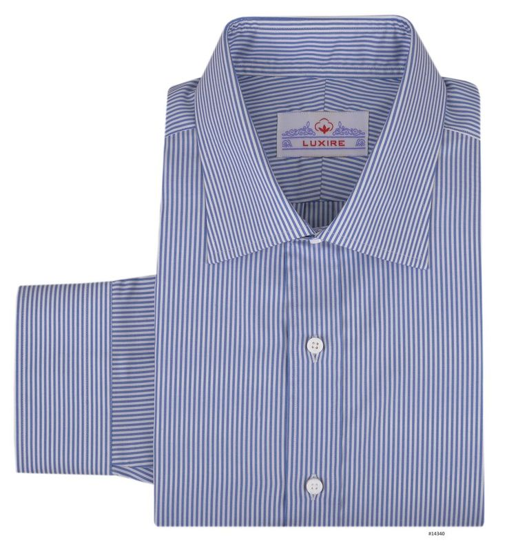 Vista Blue Dress Stripes -   Bespoke Shirts by Luxire. Custom made to Perfection