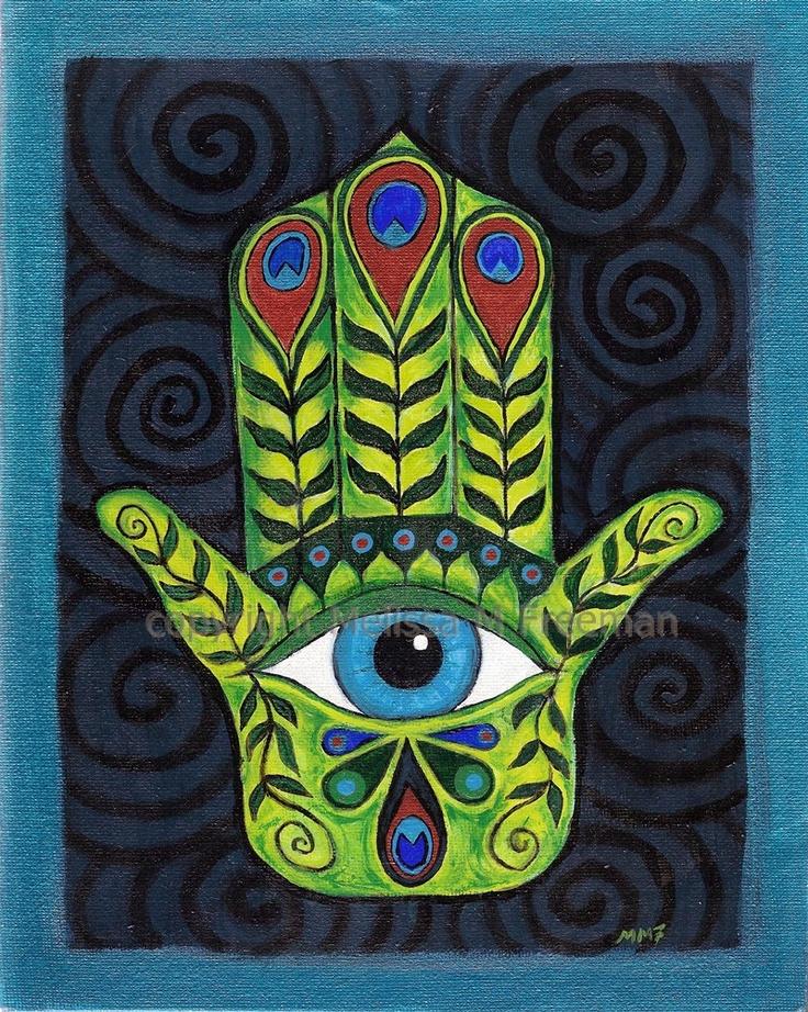 "Hamsa 1, 8""x10"" original, signed, acrylic painting on canvas board, amulet to avert the evil eye. $80.00, via Etsy."