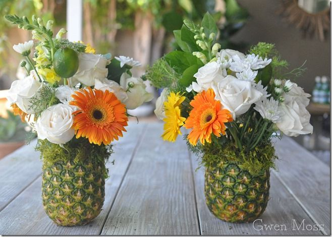 Such a great idea for a summer BBQ or pool party. Gwen Moss: how I made these pretty centerpieces using pineapp...